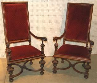 3095: Pair of 19th Century Throne chairs Renaissance  s