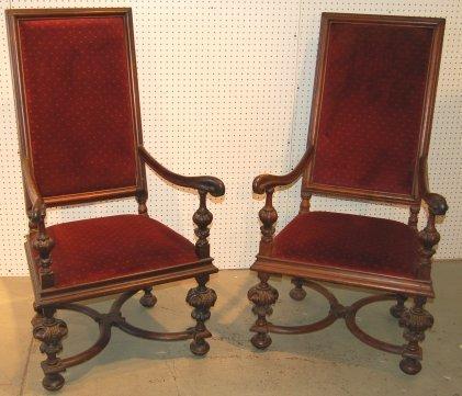 3095: Pair of 19th Century Throne chairs Renaissance  s