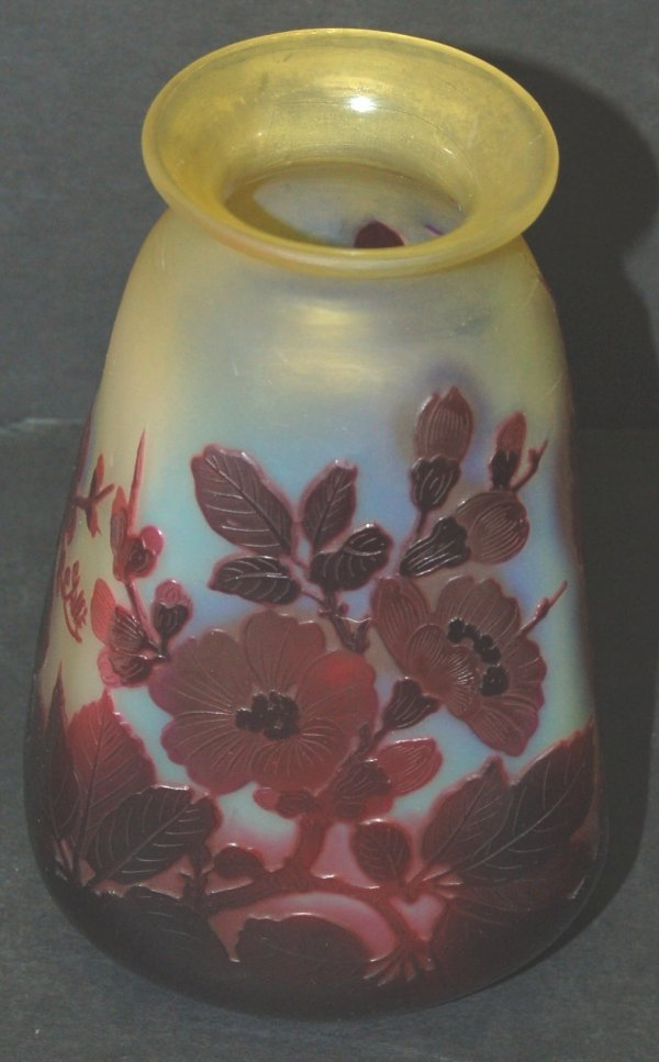 """3101: Galle square Cameo glass vase, 7 1/4"""" H x 4"""" W,"""