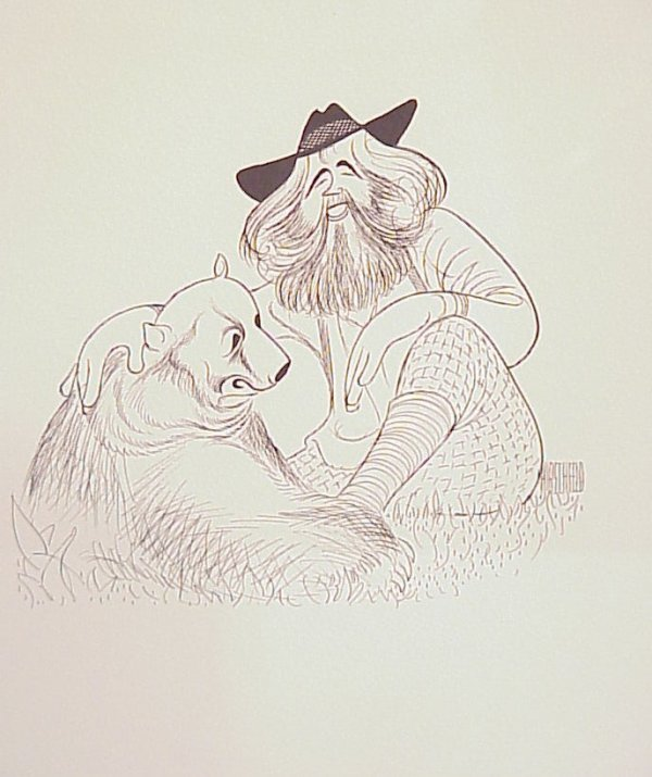 3006: Al Hirschfeld Grizzly Adams lithograph, signed,