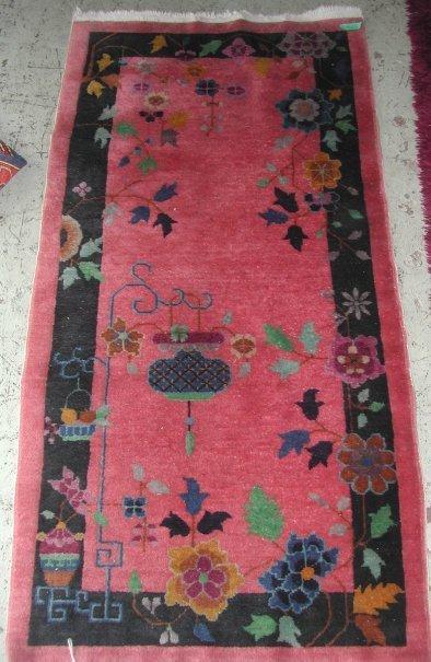 3023: Chinese Art Deco rug lavender ground, good  condi