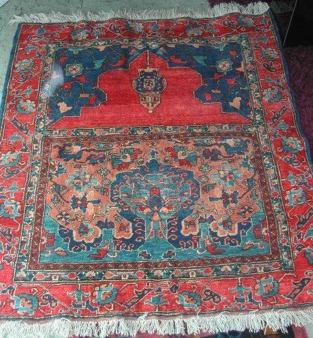 3028: Unusual double panel Hamadan prayer rug, aprx. 55