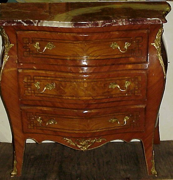 """3030: French style marble top chest commode, 33"""" W x 30"""