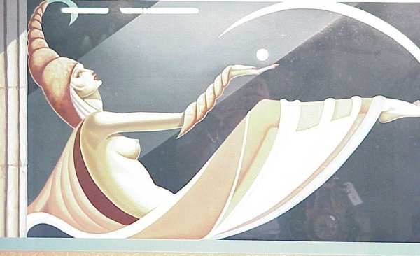 3031: Art Deco style semi nude reclining female colored