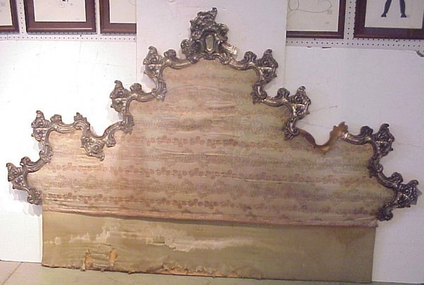 3032: Rococco style headboard, upholstered back with  m