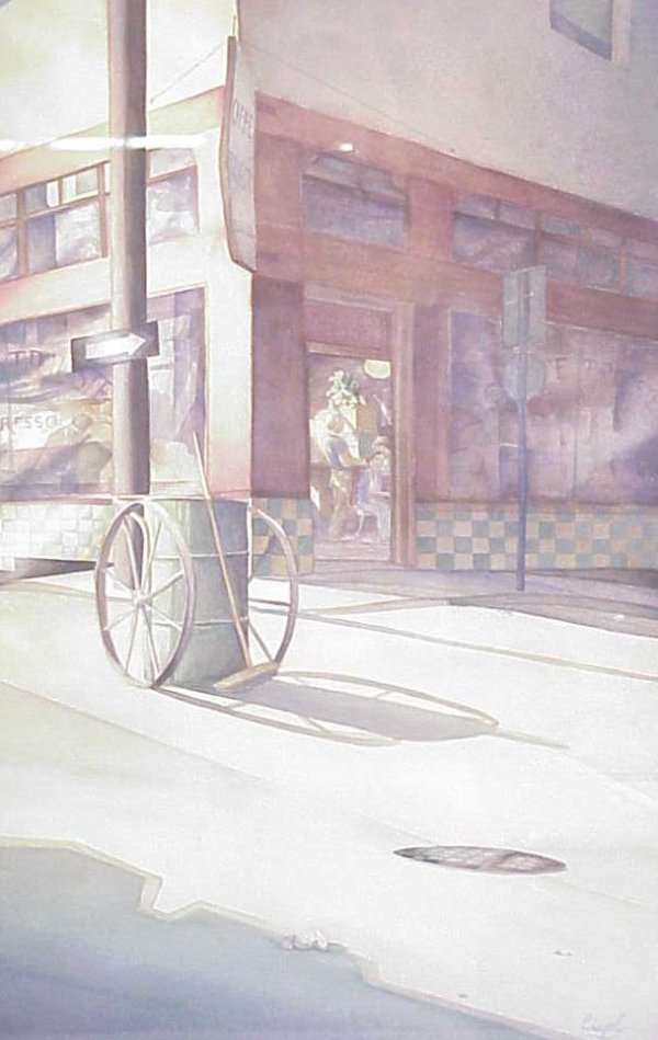 3034: Caffe Trieste street scene, watercolor, signed  l