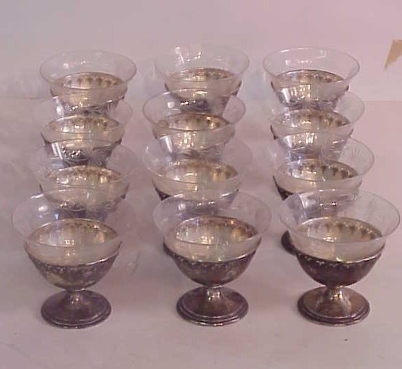 """3007: 12 sterling and etched glass sherbets 3 1/4""""h x 3"""