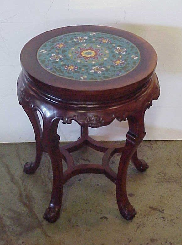 """3010: Chinese round cloisoneee top taboret table 20""""h x"""
