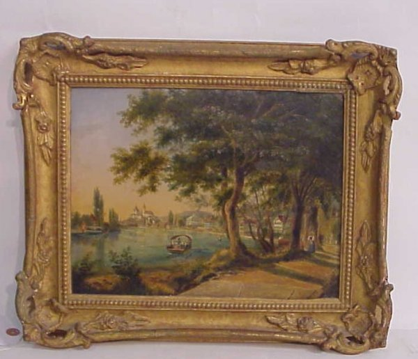 3024: European river landscape with figures in a boat,