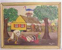 3045A European primitive farm scene oil on canvas  s