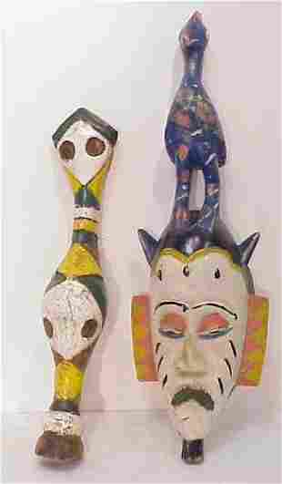 2 AFRICAN MASKS, HAND CARVED AND PAINTED (FACE &