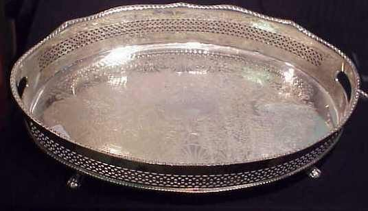 """1008: SILVER PLATE FOOTED TRAY, 22 1/2"""" X 16 1/4"""""""