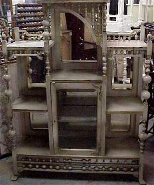 VICTORIAN ETAGERE CABINET, MIRRORED, PAINTED