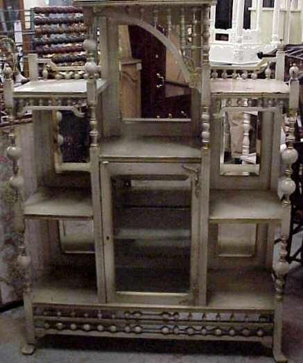 1015: VICTORIAN ETAGERE CABINET, MIRRORED, PAINTED