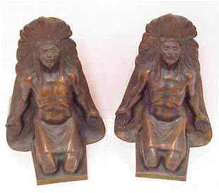 PAIR OF BRONZE INDIAN CHIEF BOOKENDS CIRCA 1920