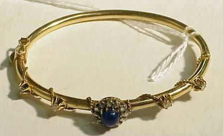 1024: VICTORIAN GOLD, LAPIS, DIAMOND BANGLE BRACELET, .