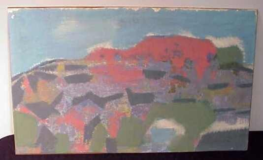 1027: ABSTRACT LANDSCAPE, OIL ON BOARD, ROY MEDDERS