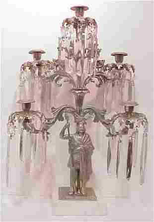 SILVERED FIVE LIGHT TABLE SCONCE WITH HANGING PRI