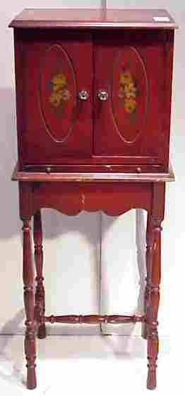 1035: RED PAINTED TWO DOOR TELEPHONE CABINET CIRCA 1920