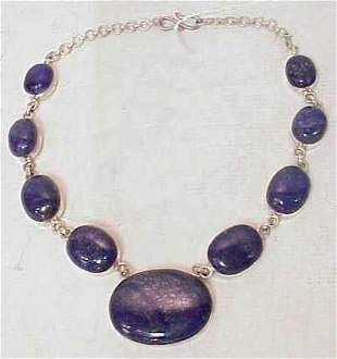 """STERLING SILVER & LAPIS STONE NECKLACE, 18 1/2""""L"""