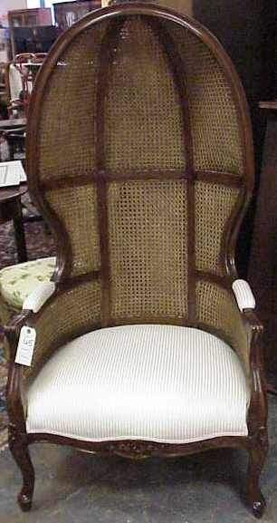 FRENCH STYLE DOME TOP CANED ARM CHAIR, NOT OLD.