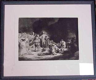 """REMBRANT ETCHING, 13"""" X 17"""", MATTED & FRAMED."""