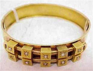 VICTORIAN 18K GOLD AND SEED PEARL BANGLE BRACELET