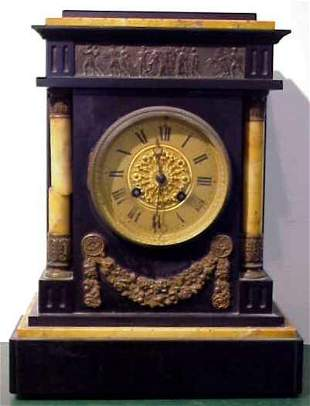 FR. EMPIRE STYLE SLATE & GOLD MARBLE MANTLE CLOCK