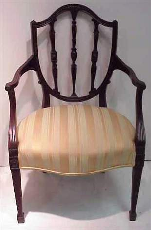 A PAIR OF HEPPLEWHITE STYLE ARMCHAIRS, MAHOGANY,