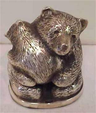 STERLING PAPERWEIGHT MOTHER & BABY BEAR.