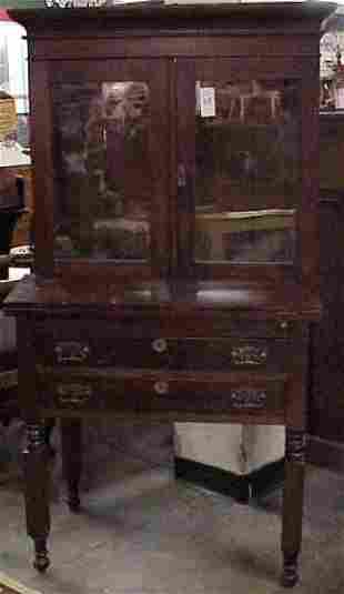 MID 19THC AMERICAN CHERRY BOOKCASE TOP FALL FRONT