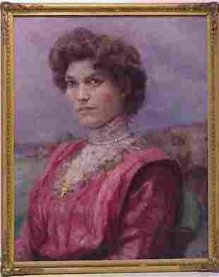 PORTRAIT OF A WOMAN IN PINK, OIL ON CANVAS, SIGNE