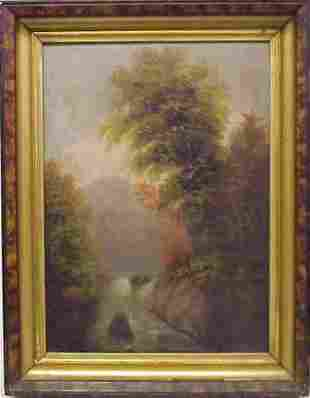 """19THC LANDSCAPE WITH RIVER, OIL ON CANVAS, 17"""" X"""