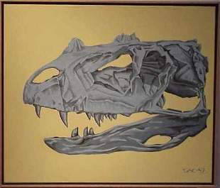 HORNED REPTILE OIL ON CANVAS, SIGNED SEAN AVERY C