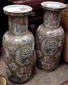 1143: PAIR OF 19THC CHINESE ROSE MEDALLION PALACE VASE,