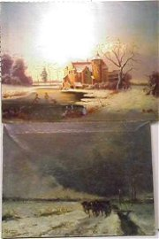 1278: TWO OIL ON CANVAS PAINTINGS: WINTER SCENE WITH SK
