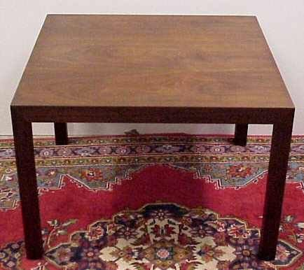 """2005: SQUARE WALNUT SIDE TABLE, 32"""" X 32"""" X 22"""" HIGH."""