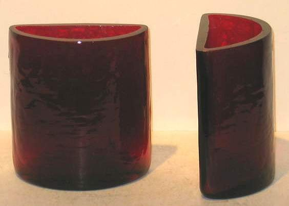2005A: BLENKO CRANBERRY GLASS BOOKENDS, FOIL LABEL, MIN