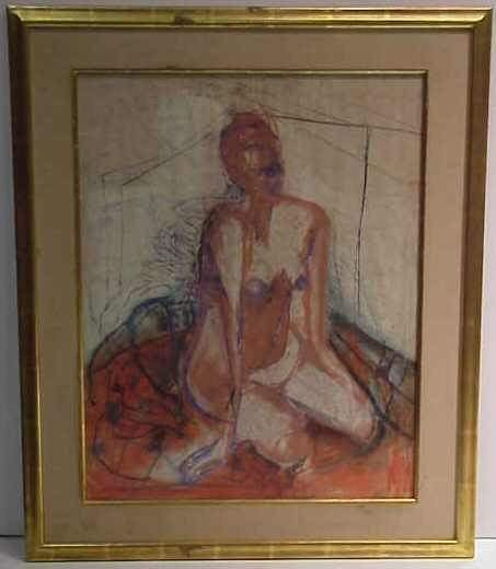 2006:SEATED NUDE,PASTEL,SIGNED M.PINE