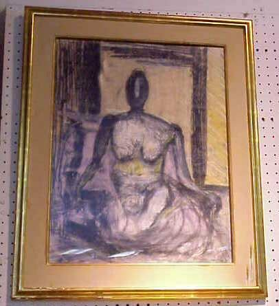 2006A: SEATED NUDE, PASTEL & CHARCOAL, SIGNED M. PINE
