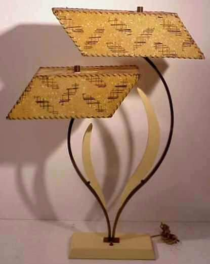 2011: MONARCH TABLE LAMP WITH FIBERGLASS SHADES.