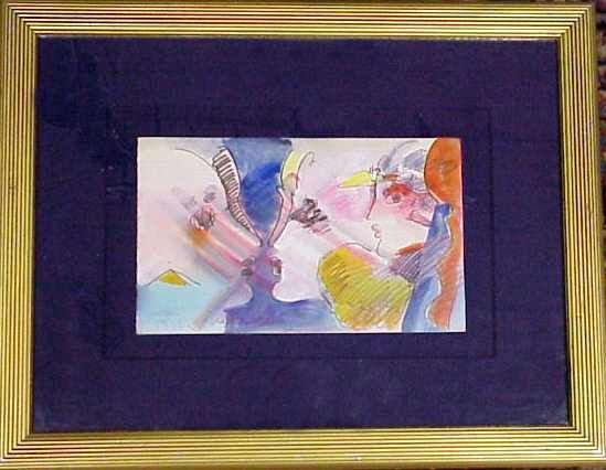 2012B: PETER MAX (1937-NY) THREE FACES, WATERCOLOR