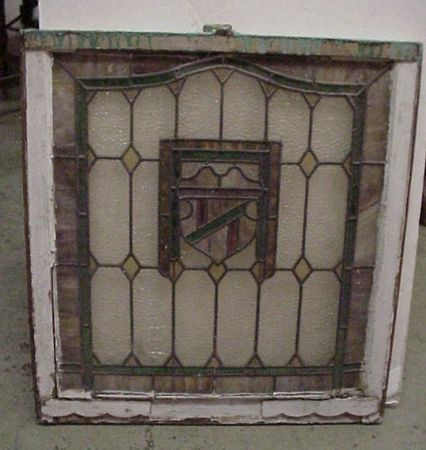 "16: Shield leaded window 32 x 29 1/2"", two panels are"