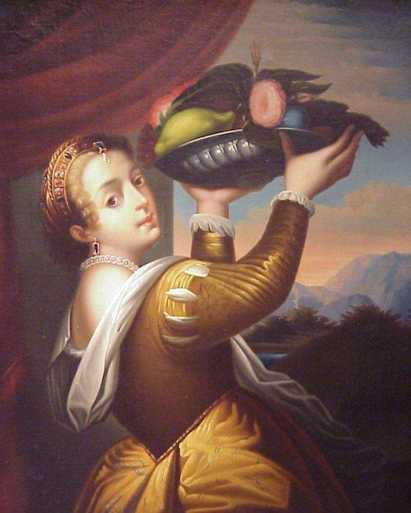 1032: 18/19thc Portrait of a Renaissance lady with a  b