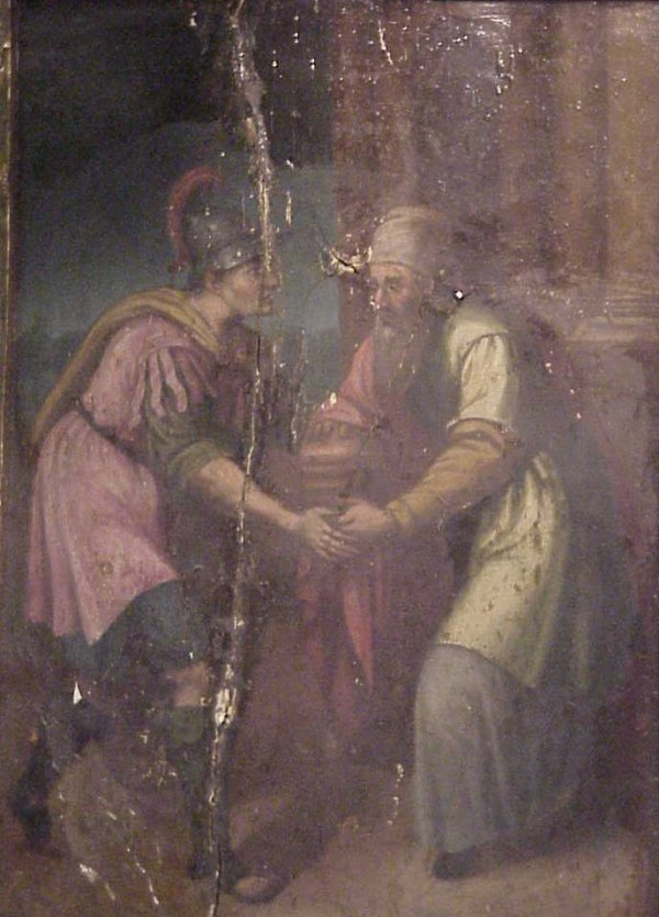 1025: 17/18thc Old Master Biblical scene with rabbi and