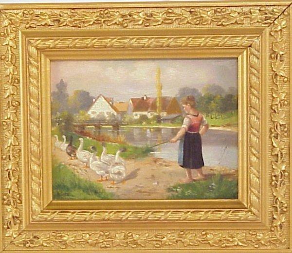 1027: German School, girl tending geese, oil on board,