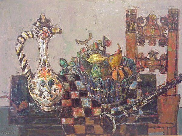 1197: Paul A. Aizpiri (1919-France) Still Life, oil on