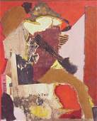 1248: Signed Romare  Bearden abstract collage, mixed me