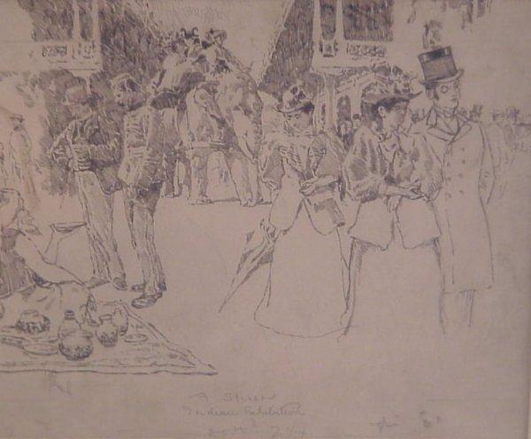 "1013: Edward Penell drawing, street scene, ""Indian Exhi"