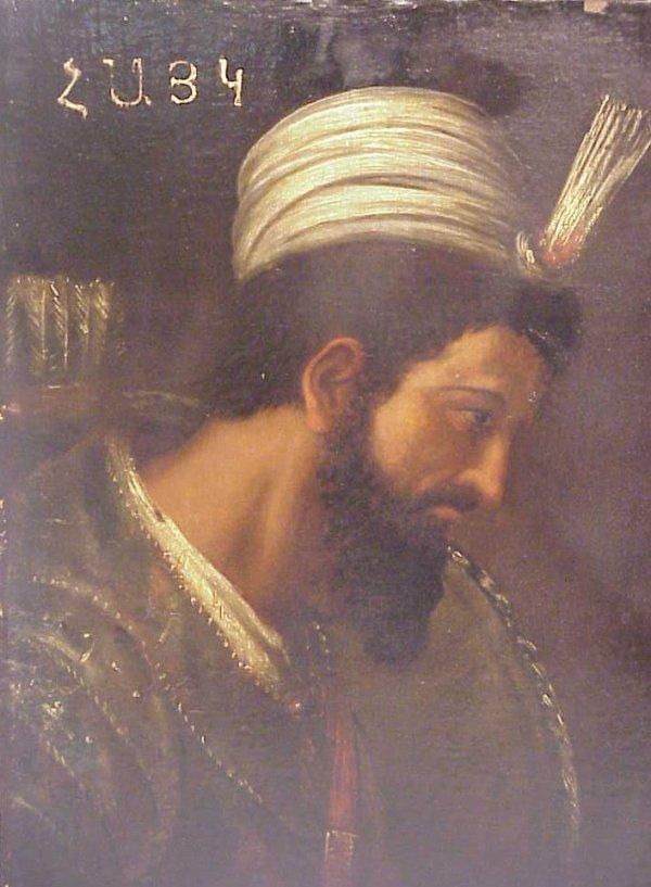 1021: 17/18thc Russian Portrait of a Caucasian warrior,